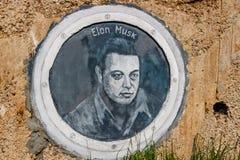Borovsk, Rusia - septiembre de 2018: Retrato de Elon Musk foto de archivo