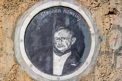 Borovsk, Rusia - septiembre de 2018: Retrato de Stephen Hawking fotografía de archivo