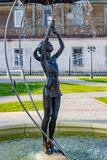 BOROVSK, RUSSIA - SEP. 2017: Fountain with a sculpture of a girl with an umbrella. `Let it shine` in the square of Borovsk royalty free stock photography