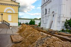 BOROVSK, RUSSIA - SEPTEMBER 2015: Replacement of old water pipes royalty free stock photo