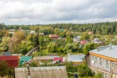 Borovsk, Russia - September 2015: View of the wooden historical buildings of the city of Borovsk. View of the wooden historical buildings of the city of Borovsk stock photo