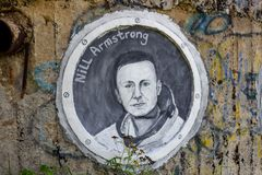 Borovsk, Russland - September 2018: Porträt von Neil Armstrong lizenzfreie stockbilder