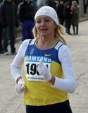 Borovska Nadiya, winner of the 20,000 meters race. Walk on Ukrainian Championships on March 07, 2012 in Yevpatoriya, Ukraine Royalty Free Stock Photos