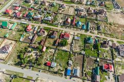 Beautiful small green village from above Stock Photos