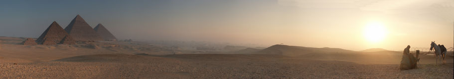 Borrão 5000x878 do nascer do sol das pirâmides Imagens de Stock Royalty Free