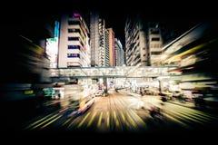 Borrão de movimento moderno da cidade Hon Kong Tráfego abstrato da arquitetura da cidade imagem de stock