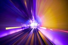 Borrão de movimento railway do fundo do túnel movente imagens de stock royalty free