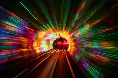 Borrão de movimento railway do fundo do túnel movente Fotografia de Stock