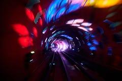 Borrão de movimento railway do fundo do túnel movente Fotos de Stock