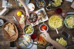 Borrão do fundo jantar, alimento, diferente, tabela, comer exterior foto de stock