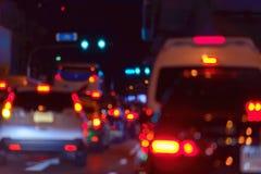 Borrão dos engarrafamentos na cidade de Banguecoque - fileira dos carros no tráfego mau fotografia de stock