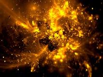 Borrão dourado do fractal com faíscas - o sumário gerou digitalmente i ilustração do vetor