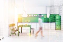 Borrão interior verde da sala de jantar e da cozinha do banco Imagem de Stock