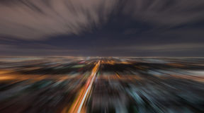 Borrão radial da cena urbana na noite Fotos de Stock Royalty Free