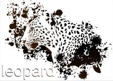 Borrões de tinta do leopardo do perfil ilustração stock