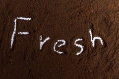 Borra de café com texto fresco Imagem de Stock Royalty Free