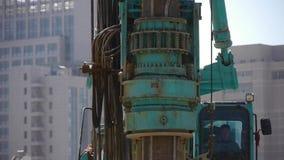 Borra maskineriborrande i land, konstruktionsplats lager videofilmer