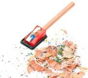 Borrador de lápiz y sacapuntas de lápiz Imagen de archivo libre de regalías