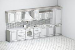 Borrador del armario de cocina clásico Fotografía de archivo
