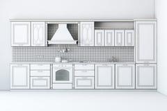 Borrador del armario de cocina clásico Imagen de archivo libre de regalías