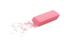 Borrador rosado aislado en blanco Imagenes de archivo