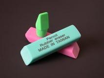 Borradores de goma - hechos en Taiwán Imagen de archivo