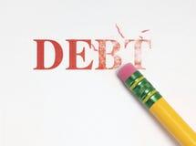 Borradura de deuda fotografía de archivo libre de regalías