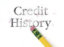 Borradura de historia de crédito Fotografía de archivo libre de regalías