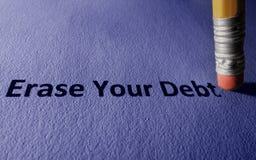 Borre su concepto de la deuda fotografía de archivo