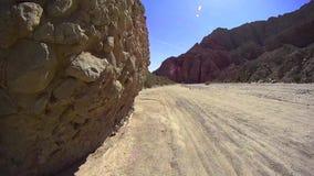 Borrego Desert Off Road - Fish Creek - Cobble Wall Run. Borrego Desert Off Road - Cobble Wall - Fish Creek Borrego Desert California - Sandstone Canyon USA stock footage