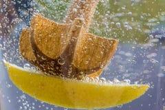 Borrelend water met citroen als verfrissing in de zomer stock afbeeldingen