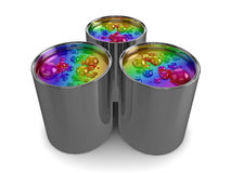 Borrelende regenboogverf Stock Foto