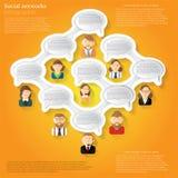 Borrelt de concepten oranje achtergrond of infographic met ovale toespraak met mensen die malplaatje conecting Stock Afbeelding