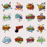 Borrelt de pop-art grappige vectortoespraak popart stijl in humeur het borrelen vormen van de uitdrukkings de asrtistic die strip vector illustratie