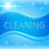 Borrelt schoonmakende banner met het schuim van de waszeep Stock Fotografie