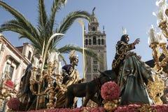Borriquita brödraskap, helig vecka i Seville Royaltyfri Fotografi
