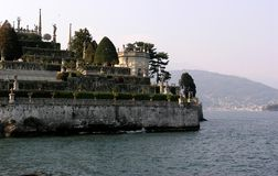 Borromeo Gardens. View from the ferry of the famous gardens royalty free stock images