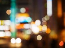 Borroso de la opinión de la calle de los semáforos, vida de noche de Bokeh Imagen de archivo