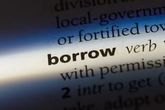 Borrow. Word in a dictionary.  concept stock images