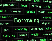 Borrow Debt Shows Arrears Finance And Liability. Debt Borrowing Meaning Financial Obligation And Liabilities Royalty Free Stock Images