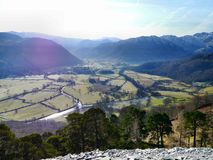 Borrowdale valley seen from castle crag Royalty Free Stock Photo