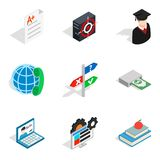 Borrowed funds icons set, isometric style. Borrowed funds icons set. Isometric set of 9 borrowed funds vector icons for web isolated on white background Royalty Free Stock Photos