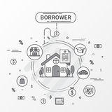 Borrower infographics design concept. Flat line  image contains loan shopping, education, trading, home loan trading. Royalty Free Stock Photos