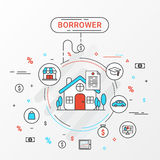 Borrower infographics design concept. Flat line  image contains loan shopping, education, trading, home loan trading. Stock Photo