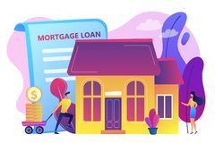 Mortgage loan concept vector illustration. Borrower making mortgage payment for real estate and mortgage loan agreement. Mortgage loan, home bank credit, real stock illustration