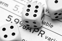 Borrowing Gamble. Dice and APR rate Royalty Free Stock Photography