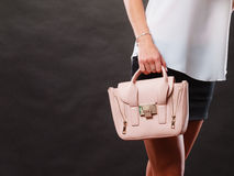 Borsa alla moda della borsa della tenuta della ragazza Fotografie Stock
