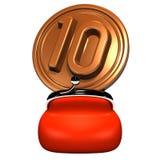 Borsa aperta con 10 monete Front View Fotografia Stock