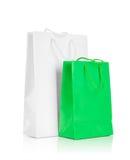 Borsa bianca e verde del regalo Fotografie Stock