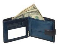 Borsa blu con i soldi (dollari) isolati su fondo bianco. Immagine Stock